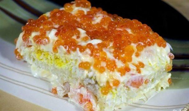 Салат слоеный с креветками — салаты