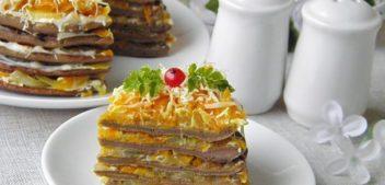 Печеночный торт из куриной печени — закуски