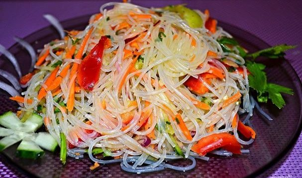 Фунчоза с овощами — салаты